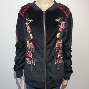 Torrid Velour Bomber Jacket Embroidered 4X Floral